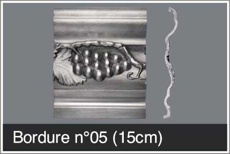 Bordure épaisse 15 cm pour comptoir en étain sur mesure style 1920-1930
